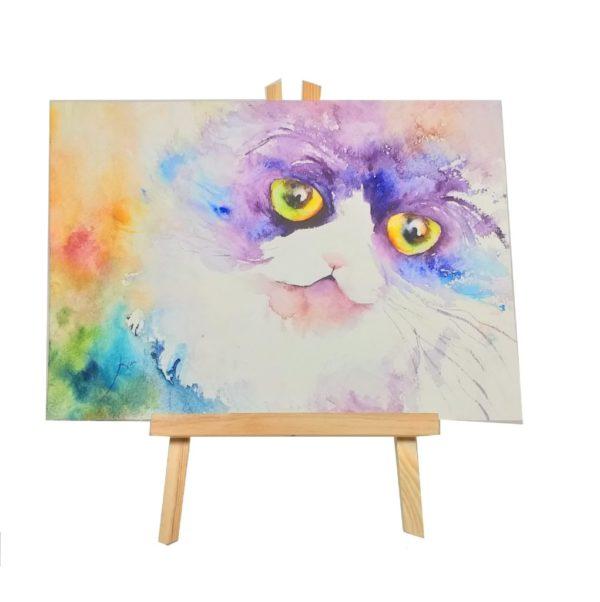Retrato en acuarela de gato persa bicolor