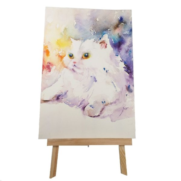 Retrato en acuarela de gato exótico blanco